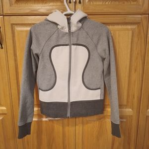 Lululemon Scuba Hoodie, grey and white size 6